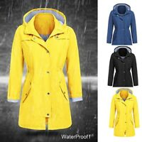 Women's Rain Jacket Outdoor Hoodie Waterproof Hooded Raincoat Long Trench Coat
