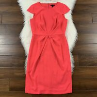 J Crew Women's Size 8 Tall Neon Pink Pleated Sheath Dress in 365 Crepe H6310