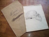 Antique 1828 Pencil Drawing of Bearded Man in Joshua Gosselin Folio Dated 1750