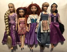 "Disney Store 12"" Barbie Doll Lot Jasmine Rapunzel Zarina Alice Merida"