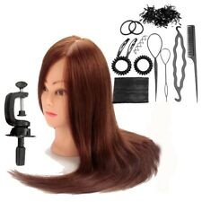 22'' 100% Real Human Hair Hairdressing Training Head Mannequin+Clamp+Braid Tool