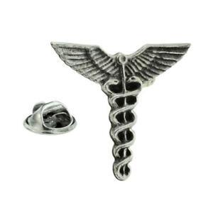 Caduceus Doctors Medical Pewter Lapel Pin Badge