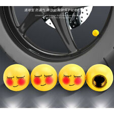 4 Pcs Yellow Happy shy expression Wheel Tyre Valve Stem Caps Covers For SUV