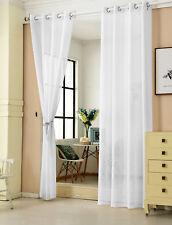2x Gardine Ösenschal transparent  mit Ösen Leinenoptik 140x245cm Weiß VH5861ws-2