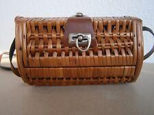 Vintage Rattan Retro 1950 Wicker Box Basket Handbag bag Audrey Hepburn Handmade