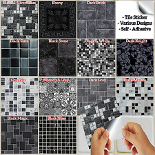 Black Mosaic Tile Stickers Transfers Kitchen Bathroom 6 inch - Various Designs
