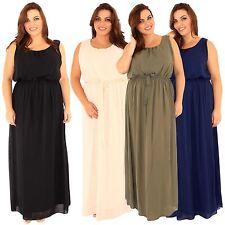 New Womens Plus Size Fully Lined Long Chiffon Maxi Dress 16-26