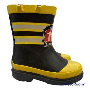 WESTERN CHIEF Boys FIREMAN Fire Chief Rain Boots Sz 7 Toddler Black Yellow