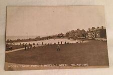Model Yacht Pond & Bowling Green, FELIXSTOWE, Suffolk RP Vintage postcard