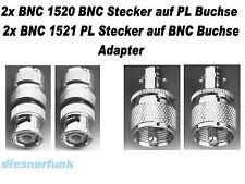 2x BNC1520 BNC Stecker auf PL Buchse & 2x BNC1521  ADAPTER  CB Funk Amateurfunk