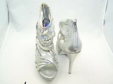 Size 8 silver with shiny stones, stiletto heel, gladiator sandals from Next