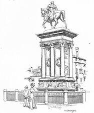 VENICE. Statue of Bartolomeo Colleoni 1930 old vintage print picture