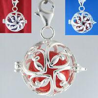 925 Silber Engelsglöckchen Wiesenblüte Klangkugel Amulett Anhänger Charm Armband