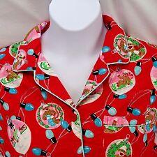 Women's Pajama Top Large Sock Monkey Nick & Nora Christmas Lights Ornaments