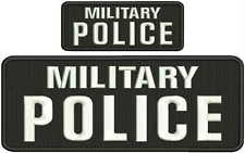 military police embroidery patch 4x10 and 2x5 hook on back white
