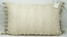 """Lucky Brand Clip Tie Embroidered 16"""" x 24"""" Cotton Decorative Pillow Light Brown"""