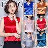 Summer Retro Satin Faux Silk Sleeveless V-Neck Blouse Shirt Vest Tank Tops Cami