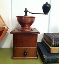 Hand Mill Coffee Bean Grinder Forged Copper Bowl Wood Wooden Base Drawer German