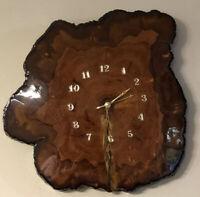 Vintage MCM Burl Live Edge Wood Slab Handcrafted Wall Clock
