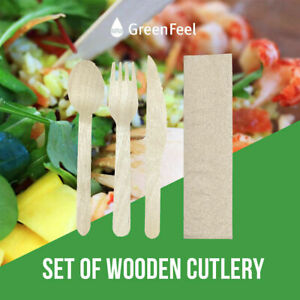 4 in 1 Wrapped Wooden Meal Kit | Disposable Fork Knife Spoon Napkin Cutlery Set
