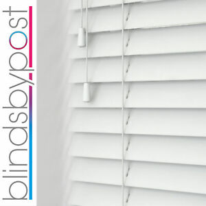 BRILLIANT WHITE 50mm   FAUX WOOD WOODEN VENETIAN BLINDS MADE TO MEASURE