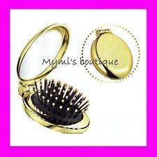 Brosse à cheveux AVON pliable de voyage dorée or métallisé avec miroir - neuve
