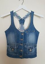 FASCINATE Donne Top Gilet in Jeans Denim Blu Retro Sportivo Aderente S 8 10 Blogger