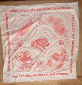 6190 EAST GERMAN/DDR/GDR COLD WAR FDJ Celebration SCARF SCHWERIN Region 1985