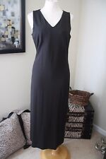 Talbots Black Smooth Fit Maxi Long V Front & Cross Back Dress S Small 4 6