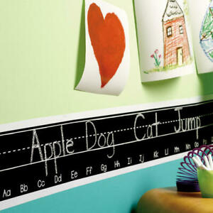 WALLIES ALPHABET CHALKBOARD border wall stickers letters 2 sheets over 6 feet