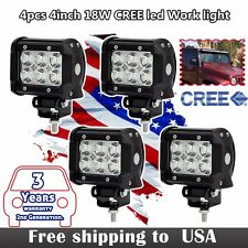 4x 4inch 18W CREE LED Work Lights Pods Lamp SUV 4WD 4X4 UTE Offroad Truck Jeep 3