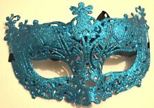 NEW Turquoise blue glitter filigree Masquerade Mask Eye Gothic halloween