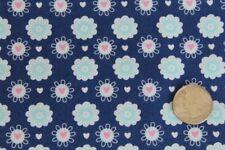 Diasy Flowers Hears Blue cotton Fabric 2 yards