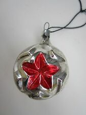 Russian Soviet STAR Christmas Glass Ornament silver ball vintage Красная Звезда