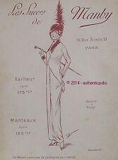 PUBLICITE MANBY MANTEAUX COSTUME TAILLEUR POUR DAME MODE DE 1913 FRENCH AD PUB