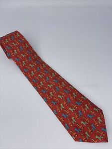 Hermes Paris Horse & Carriage Red Tie - #7683 TA - 100% Silk - Made in France