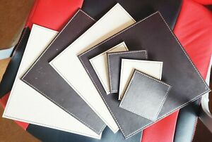 Faux Leather Reversible Place Matts & Coasters (Dark Brown & Cream) (Set of 4)