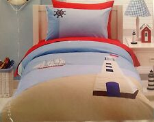 Nautical Pirate Light House Ship Theme Double Bed Quilt Cover 2 Pillow Case Set
