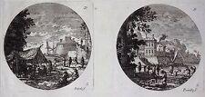Gravure Etching Incisione Kupferstich PERELLE Paysages Bord de mer Bateaux 5 & 6