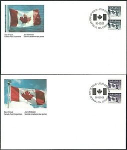 Canada 1194B & 1194C  TWO CANADIAN FLAG COIL COVERS  Both New 1990 Unaddressed