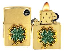 Zippo 28806 Stunning Four Leaf Clover Emblem Brushed Brass Finish Lighter New