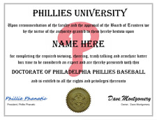PHILADELPHIA PHILLIES PERSONALIZED FAN DIPLOMA, GREAT GIFT
