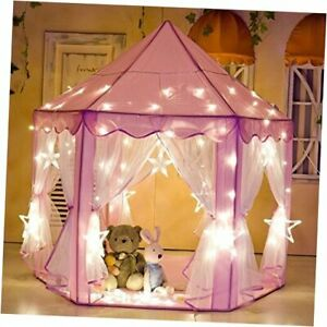 Kids Indoor/Outdoor Princess Castle Play Tent Fairy Princess Portable Pink Led
