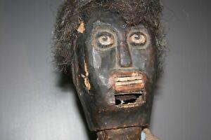 Antique African American Primitive Wood Plantation Teaching Doll Ventriloquist