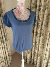 Whistles blue cashmere, cotton and silk short sleeved top, size 4