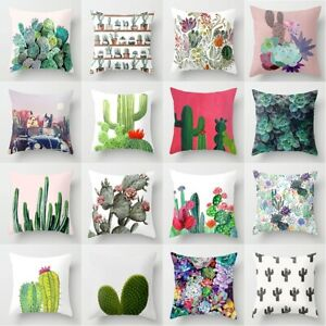 Tropical Plant Cactus Pattern Linen Pillow Case Sofa Office Car Cushion Cover