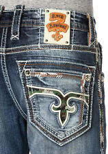 Rock Revival Cyrek Alternative Straight Jeans 32 x 33 Med Blue w/Camo NWT $174