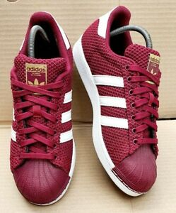 ADIDAS SUPERSTAR SHELL TOE TRAINERS MAROON & WHITE WEAVE SIZE 7 UK IMMACULATE