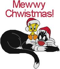 CROSS STITCH+ CRAFT PATTERN Christmas Santa Hat Tweety Bird Sylvester Cat Mewwy