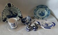 VINTAGE DELFT BLUE 6 PIECES TEA BAG HOLDER, S & P SHAKERS, EGG CUP & 3 ASHTRAYS